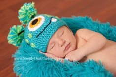 Crochet Baby Hat Little Monster made to order 0 to 3 months Photo Prop. $17.00, via Etsy.