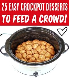Easy Desserts for a Crowd! Cheap and Quick Prep sloow cooker dessert ideas everyone will LOVE! Go grab some new recipes for your next party or get together for some serious crowd pleasers! Have YOU tried any of these yet?? Delicious Crockpot Recipes, Crockpot Dessert Recipes, Crock Pot Desserts, Desserts For A Crowd, Food For A Crowd, Fun Desserts, Slow Cooker Recipes, Dog Food Recipes, Dessert Ideas