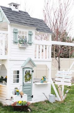 Are you planing make some a backyard shed? Here we present it to you 50 Best Stunning Backyard Storage Shed Design and Decor Ideas. Kids Playhouse Plans, Outside Playhouse, Backyard Playhouse, Build A Playhouse, Painted Playhouse, Childrens Playhouse, Wooden Playhouse, Cubby Houses, Play Houses