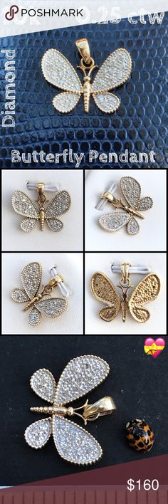 """💝10k Gold 0.25 ctw Diamond Butterfly Pendant 🦋 Beautiful 10K Yellow Gold 0.25 cttw Diamond Butterfly Pendant. Approx: 0.60""""L x 0.70""""W @W. Marked 10K Mexico w/hallmark. Weight 1.2 grams. Amazing pendant w/ 22 diamonds =0.25 cttw, wear it dressed up or down, would also make a great 🎁 4 someone special! Listing Images Are Of The Item Being Offered. Preloved: May Show Slight Signs Of Having Been Worn. Buy w/ confidence 500+ 5 ⭐️ feedback. I ship same day! Please make reasonable offer using…"""