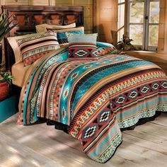 - Mesa Fleece Bedding Attractive whisper weight blankets and accessories with a Southwestern look! Mesa bedding offer optimum comfort and the perfect degree of warmth round the year! Western Style, Western Cowboy, Western Rooms, Western Bedding Sets, Rustic Bedding Sets, Diy Rangement, Farmhouse Side Table, Italian Home, Bed Sets