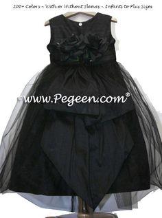 3bbe744b4e3 Black Silk Tulle Flower Girl Dresses with Black Silk Flowers Style 313