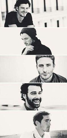 top to bottom:  Orlando Bloom/Legolas * Luke Evans/Bard * Dean O' Gorman/Fili * Aiden Turner/Kili *  Lee Pace/Thraunduil* :)