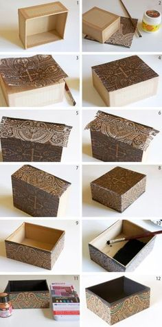 How to decorate a cardboard box with napkin technique www.ch How to decorate a cardboard box with napkin technique www.ch The post How to decorate a cardboard box with napkin technique www.ch appeared first on Paper Diy. Cardboard Furniture, Cardboard Crafts, Cardboard Boxes, Cardboard Playhouse, Home Crafts, Diy And Crafts, Carton Diy, Diy Karton, Cigar Box Crafts