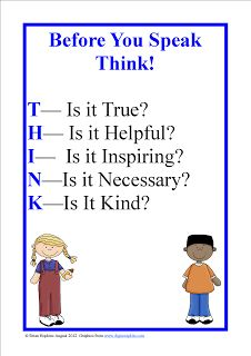 Bullying - the original post was directed for those working w/kids.  I personally have this (in a different font format) printed & framed in my living room.