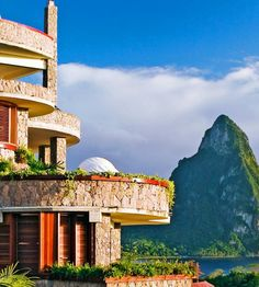 Built into the hillside on St. Lucia's southwest coast, this leveled sleep overlooks the #Caribbean Sea.