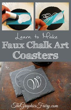 How to Make Faux Chalk Art Coasters - The Graphics Fairy Do It Yourself Furniture, Bath Bomb Recipes, Diy Coasters, Chalk Art, Valentines Diy, Homemade Gifts, Craft Gifts, Diy And Crafts, Easy Diy