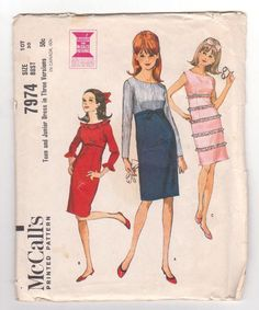 Vintage 60s McCalls Pattern Jr Dress Bust 30 by YesteryearBoutique, $4.99