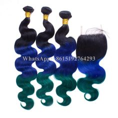 1B Blue Green Ombre hair bundles with 4*4 closures ombre Body wave Human hair