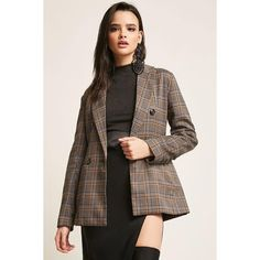 Forever 21 Plaid Double-Breasted Blazer  Brown/multi (€37) ❤ liked on Polyvore featuring outerwear, jackets, blazers, forever 21 jackets, plaid jacket, brown jacket, brown plaid blazer and long sleeve jacket