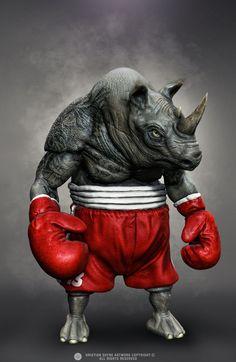 ArtStation - Floyd The Rhino, Hristian Ivanov Shyne Comic Book Characters, Fantasy Characters, Rhino Art, Arte Hip Hop, Illustrator, Dark Art Illustrations, Cartoon Monsters, Fantasy Monster, Funny Video Memes