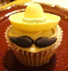 Sombrero and mustache cupcake