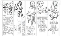 bookmark reading 3, Bookmark, instant download, birthday activity, coloring sheet, coloring bookmark, bookmarks, bookmarks to print, reading