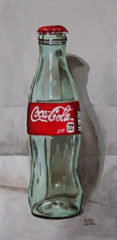 "8"" x 4"" Acrylic on panel No plastic here! It was such a treat to stumble across this old glass coke bottle in a secondhand store. It reminds me of the bottles we used to buy when we were children and"