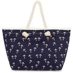 Anchor Print Beach Bag ($22) ❤ liked on Polyvore featuring bags, handbags, navy purse, print handbags, beach bag, blue evening purse and navy blue handbags