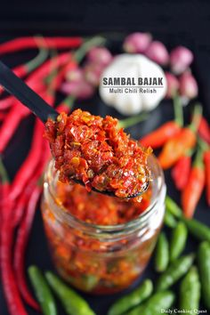 Sambal bajak is another chili relish that you can find everywhere in Indonesia. It is so popular that this chili relish is one of the few you can easily find sold in a bottle in many grocery stores. Basically, a sambal bajak is made using multiple chilies Spicy Recipes, Indian Food Recipes, Asian Recipes, Cooking Recipes, Cooking Tips, Chili Recipes, Chutneys, Asia Food, Sauce Spaghetti