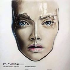 MAC face chart by Amalia Bot Mac Face Charts, Halloween Face Makeup, Hair Beauty, Sketches, Make Up, Photo And Video, Tattoos, Instagram, Inspiration