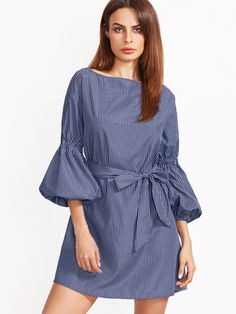 Shop Blue Striped Lantern Sleeve Self Belt Dress online. SheIn offers Blue Striped Lantern Sleeve Self Belt Dress & more to fit your fashionable needs.