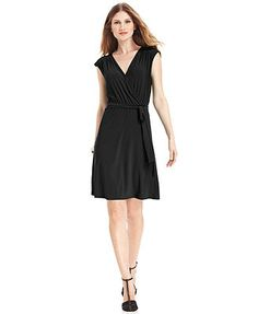 NY Collection Dress, Cap-Sleeve Belted A-Line