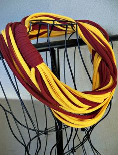 Infinity Scarf - 28-inch - Garnet and Gold-Color w/gold binding. $15.00, via Etsy.