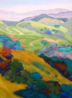 Watercolors by Robin Purcell – Suluboya Coşkusu ! Art Watercolor, Watercolor Landscape, Landscape Paintings, Landscapes, Impressionist Landscape, Green Watercolor, Art Et Illustration, Art Moderne, Art Design