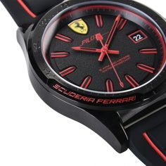 A silicone strap watch with a sporting spirit that is seen in the details inspired by the design of the Ferrari single-seater cars: for true connoisseurs. Red Watches, Watches For Men, Ferrari Watch, Quartz Watch, Chronograph, Spirit, Inspired, Cars, Detail