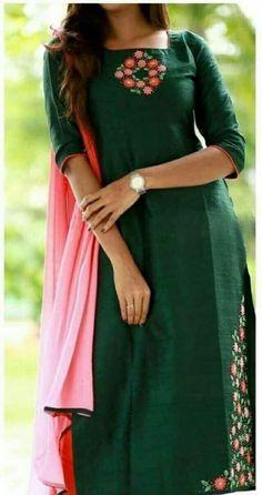 Different types of stylish kurti neck designs - ArtsyCraftsyDad Salwar Neck Designs, Kurta Neck Design, Kurta Designs Women, Dress Neck Designs, Designs For Dresses, Chudidhar Neck Designs, Blouse Designs, Kurti Embroidery Design, Embroidery Dress