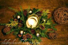 diy rustic wreath center piece  ��Pine Wreath or pine clippings (I use a faux wreath and add real pine cuttings)