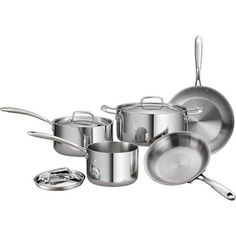 Tramontina 8-Piece 18/10 Stainless Steel Tri-Ply Clad Cookware Set - Walmart.com