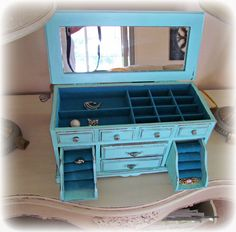Vintage French Beach Chic Blue Jewlery box by vendange on Etsy, $62.00