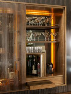 Real Home Inspiration: cabinet bar & balcony 11 rainbow alley melbourne vic 3000 australia only on this page Architecture Restaurant, Interior Architecture, Hotel Minibar, Bar Unit, Luxury Bar, Modern Buffet, Bar Interior Design, Built In Bar, Art Deco