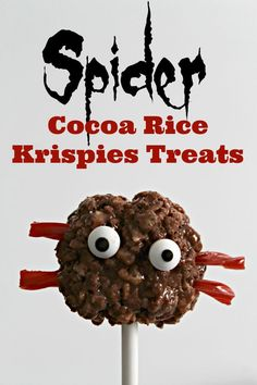 These Spider Rice Krispies Treats are adorably scary! Click through for the recipe.
