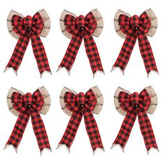 WILLBOND 6 Pieces 10 Inch Halloween Black and White Plaid Bows Buffalo Check Large Bows Thanksgiving Wreath Bows Buffalo Checked Bows