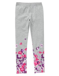 Girls Heather Grey Floral Leggings by Gymboree