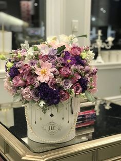 Mix Flowers Arrangement by JadoreLesFleurs #jadorelesfleurs #JLF  #roses #flowers #purple #pink