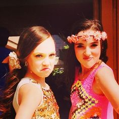 Maddie Ziegler and her friend, Kendall Vertes, before they made her public appearance at the Nickelodeon Kid's Choice Awards 2014 [2014]