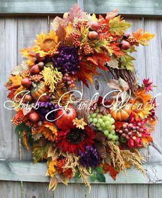 Elegant Autumn Bounty XL Fall Wreath, Cornucopia, grapes, Sunflowers