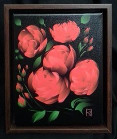 "AUCTION to Benefit JCAPL, Animal Rescue!  Vivid red roses! Digital Oil Painting on wrapped canvas in a simple walnut float frame. 10""W x 12""H - Gerry Morgan, artist  Link to view all auction items and place a bid: https://www.facebook.com/media/set/?set=a.10152703514929549.1073741859.74160789548&type=1"