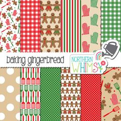 Gingerbread Men Digital Paper – scrapbook paper with a Christmas baking theme - Christmas cookies paper - printable paper - commercial use