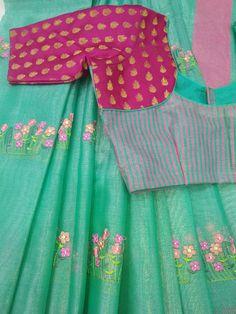 Chanderi silk tissue saree with designer blouse whatsapp tanvika sarees Patch Work Blouse Designs, Simple Blouse Designs, Stylish Blouse Design, Cotton Saree Blouse Designs, Designer Blouse Patterns, Designer Dresses, Hand Designs, Sarees, Blouses