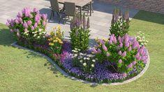 Et blomsterbed foran et hus - Vintage River Rock Landscaping, Landscaping With Rocks, Backyard Landscaping, Landscape Design Plans, Landscape Architecture Design, House Landscape, House Front, Flower Beds, Garden Projects