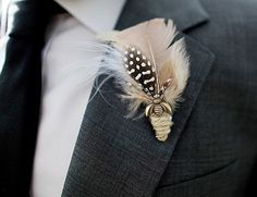 feather boutonniere - Google Search