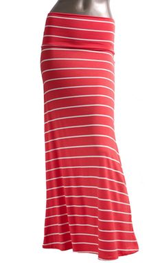Azules Women's Long Rayon Span Stripe Maxi Skirt-made in USA at Amazon Women's Clothing store: