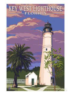 Key West Lighthouse, Florida Kunst bij AllPosters.nl