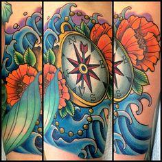 Compass, water, and poppies tattoo I made today #starbrite #starbriteproteam #starbritetattoos #starbritecolors #unionmachine #phucstyxtattoosupply #prideneedles #electrumstencilprimer #greengold #hustlebutterdeluxe #lotustattoohemet #hemet #hemettattoo #jamesmullin #compass #compasstattoo #neotrad #neotraditional #neotraditionaltattoo