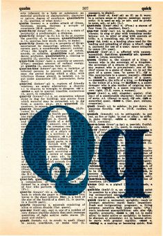 Repurposed Dictionary Art...Q by SimpleeSaid on Etsy, $4.50