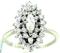 14K WHITE GOLD 1.80CT DIAMOND COCKTAIL Friendship RING sz 7 4.1gm B41 #Handmade #Cocktail #COCKTAIL