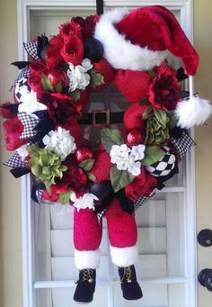 Christmas Wreath; Santa Wreath; Santa with Legs Wreath; Deco Mesh Christmas Wreath; Grapevine Wreath by OfftheWallKreations on Etsy