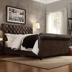 Homelegance Dartford Upholstered Faux Leather Sleigh Bed | from hayneedle.com