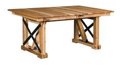 Amish Urban Trestle Dining Table Genuine wood tables make everything taste better! The Urban brings a lot to a contemporary room. Built in choice of wood and stain. Available in a number of sizes with extensions to expand the table.